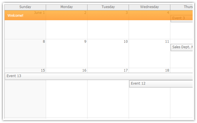 Calendar Monthly Events : Daypilot html calendar scheduler and gantt chart web