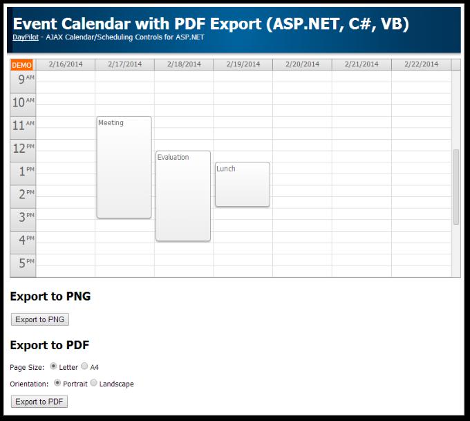 Tutorials   DayPilot for ASP.NET WebForms (AJAX Calendar