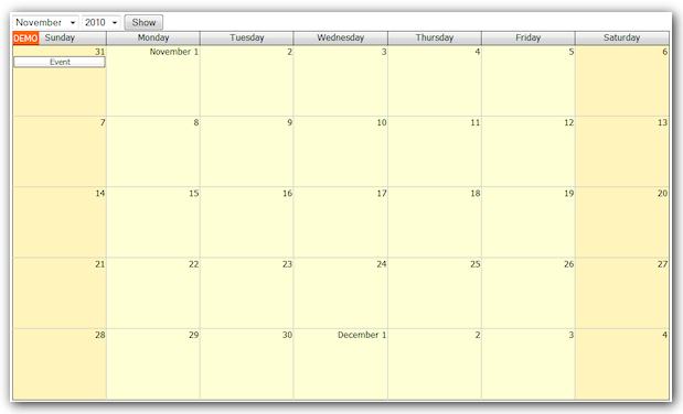 Monthly Calendar Tutorial: SQL Server, UpdatePanel, ModalPopupExtender ...